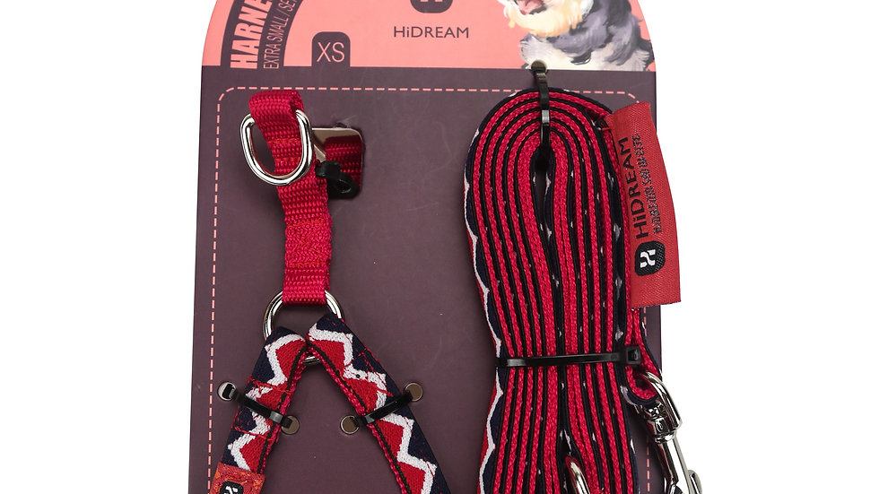 Rainbow Mini Set (Harness & Leash) - Red