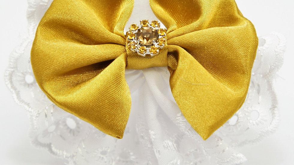Elegant Lacy Gold Bowtie