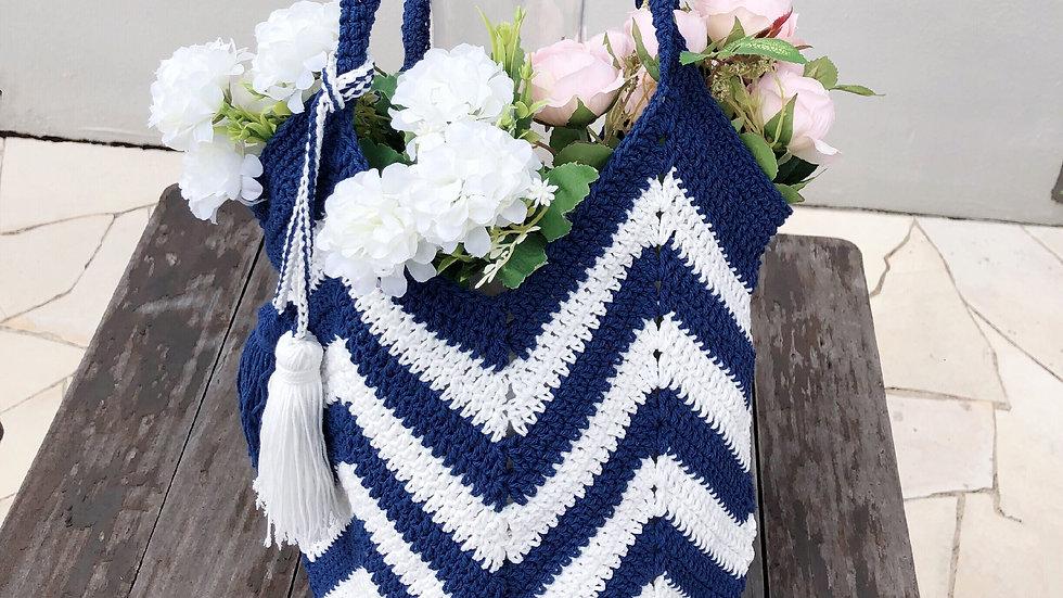 Blue White Wave Handbag