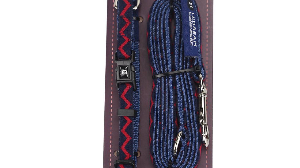 Rainbow Mini Set (Collar & Leash) - Navy Blue