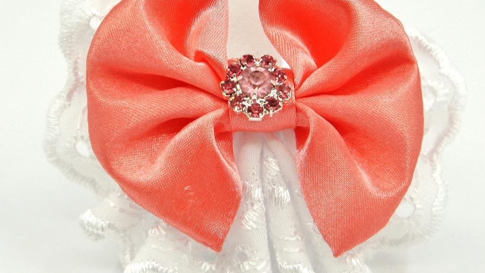 Elegant Lacy Peach Bowtie