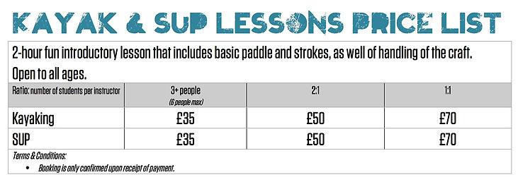 Loe Beach kayak and paddleboard price list