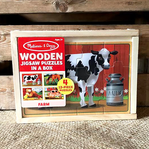 Farm Animals Wooden Jigsaw Puzzles in a Box