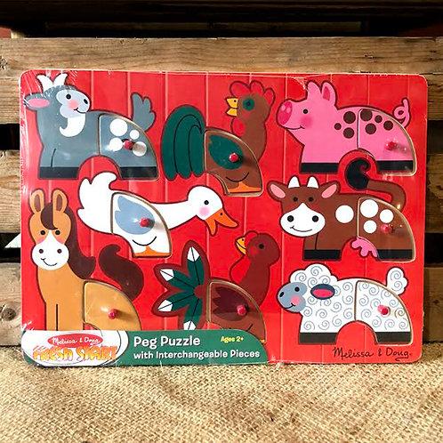 Farm Animal Peg Puzzle - 8 pieces
