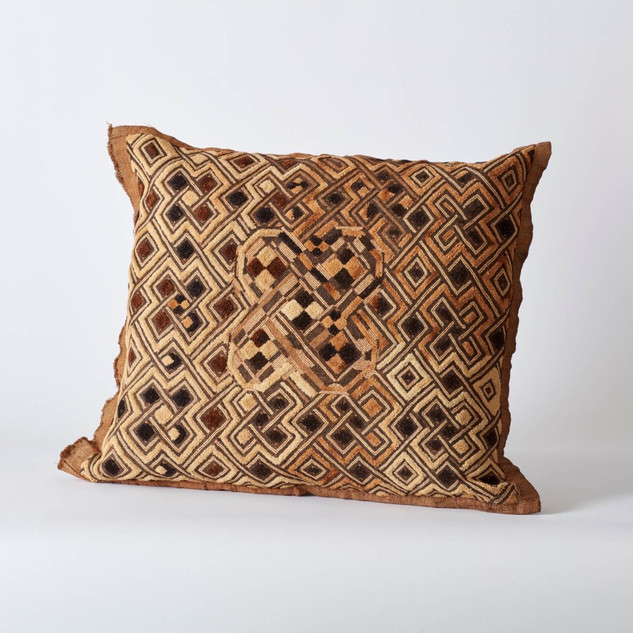 VINTAGE AFRICAN KUBA CLOTH CUSHION BACKED IN VINTAGE HUNGARIAN LINEN