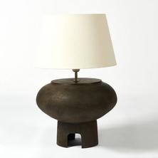 Arch table lamp in light bone