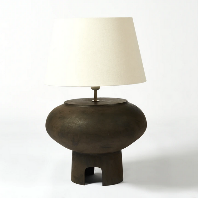 Arch table lamp in light bone