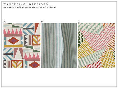 Wandering Interiors; Children's Bedroom curtain fabric options