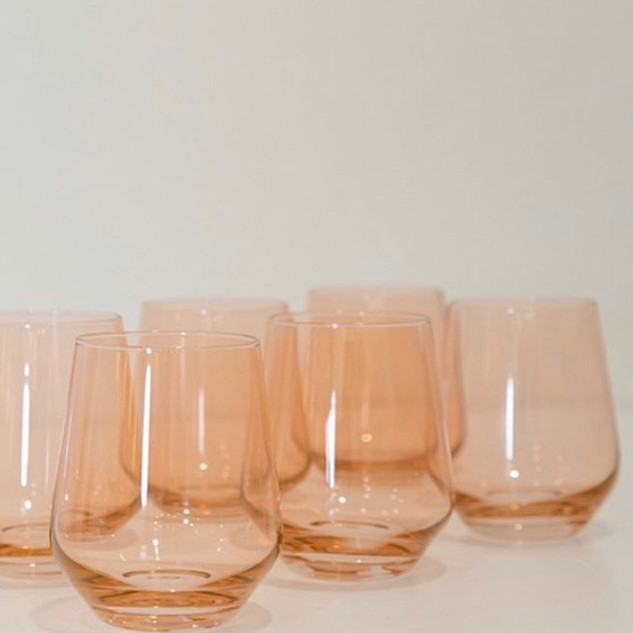 Colored Wine Stemless - Set of 6 {Blushed Pink}