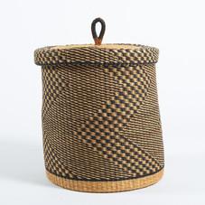 Baba Medium Lidded Laundry Basket in Natural and Black Zig-Zag Stripes