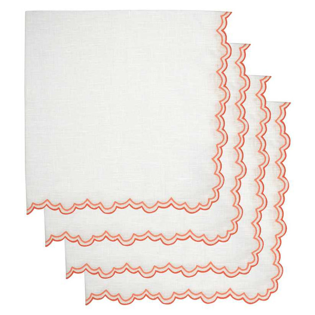 Los Encajeros Set-Of-Four Embroidered Linen Dinner Napkins