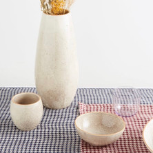 ONCE MILANO Houndstooth linen table runner
