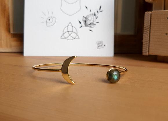 """Bracelet """"lune"""" en aventurine ou labradorite / doré ou argenté"""