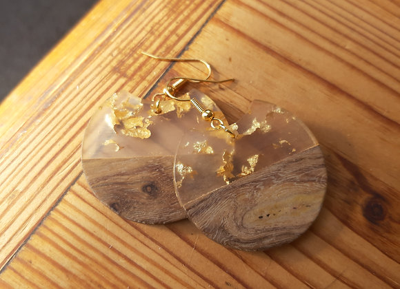 Boucles d'oreilles Wood and Gold