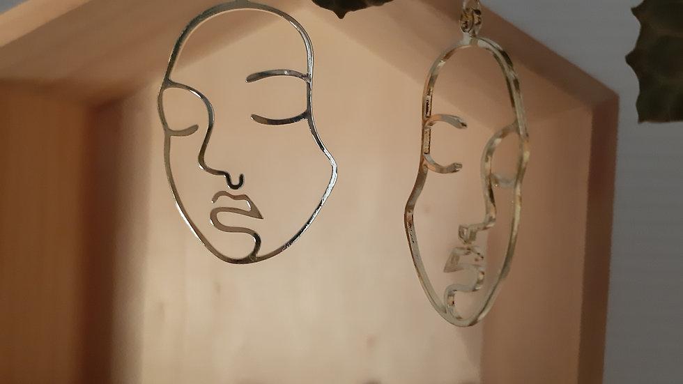 """Boucles d'oreilles """"Introspection"""" : visage one line"""