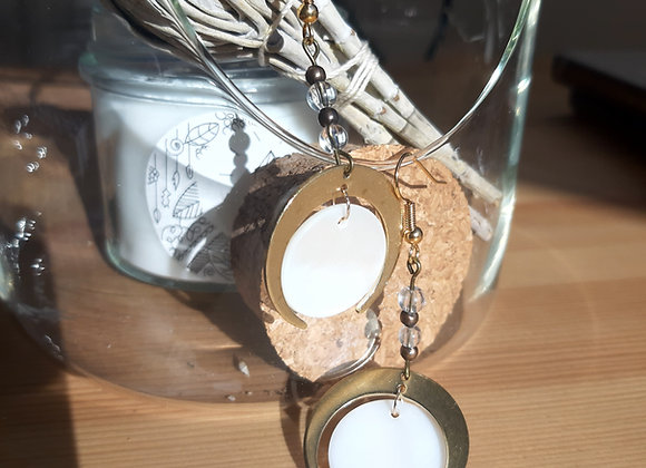 BO full moon Nacre, cuivre et cristal de roche