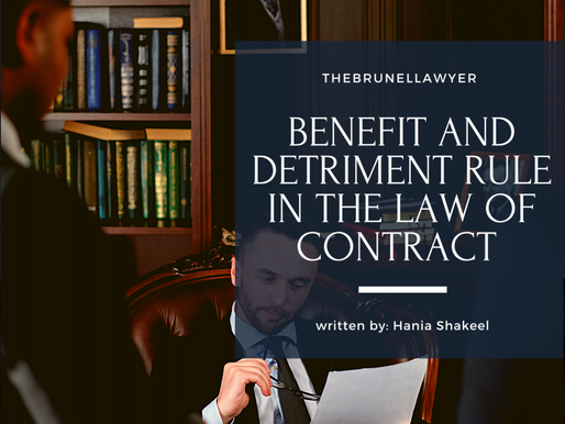 Hania discusses the 'Benefit and Detriment' rule in the Law of Contract.