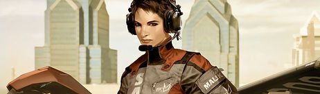 Graphic image of female video game character with short dark hair wearing a flight suit