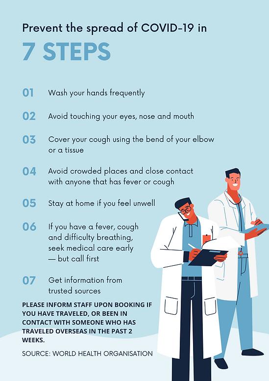 Blue 7 Step Prevention Coronavirus Aware