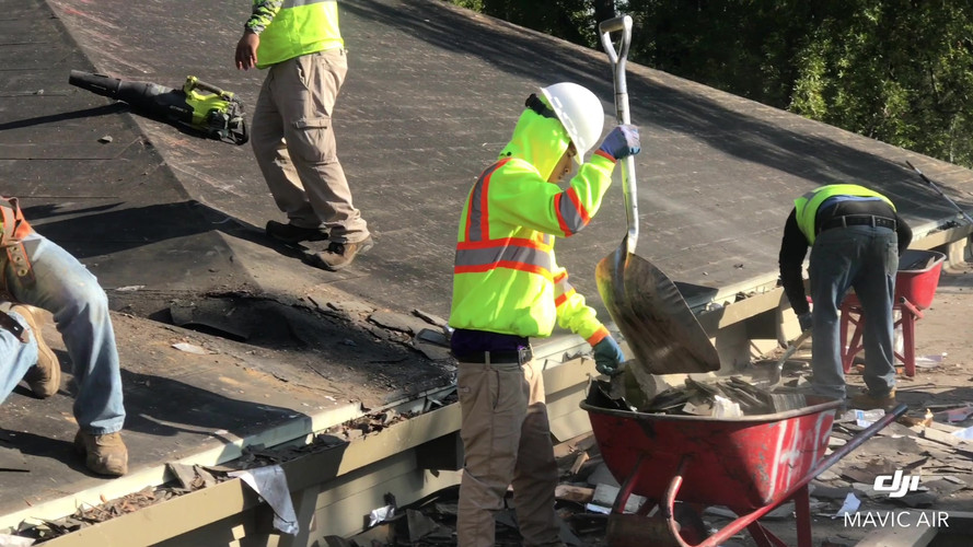 Roof demo Indian valley college in Novato .