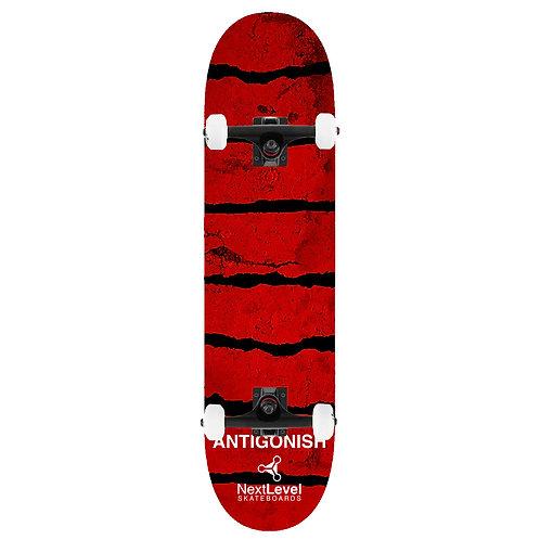 Kids Complete Skateboard Grunge Red Stripes