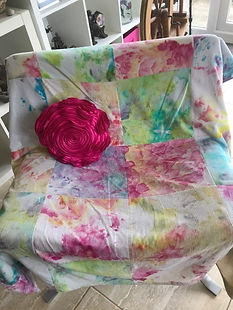 Chair cover of dyed fabric