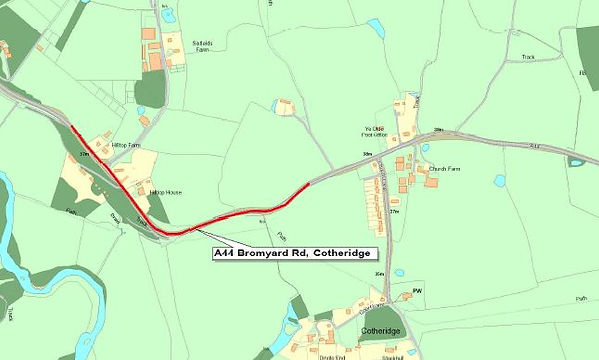 Map showing proposed road closure near Cotheridge