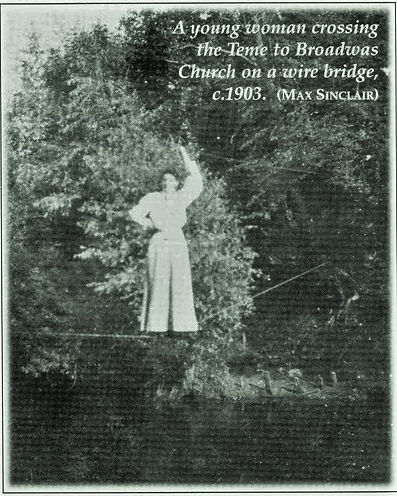 A lady crossing the Teme on a rope (pre H&S) circa 1903