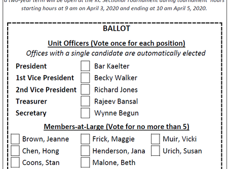 Unit 131 Board Election, April 3-5, 2020