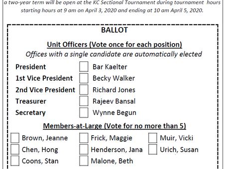 Unit 131 Board Election, April 3-5, 2020