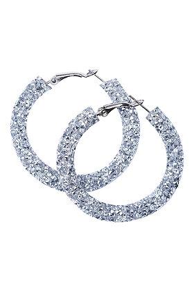 SAVOY GLITTER HOOP EARRING -Silver