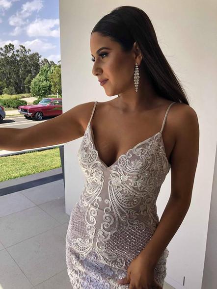 Alana White Formal Dress-Close Up