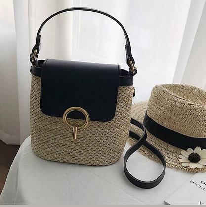 Bohemian Straw Shoulder Bag- Black