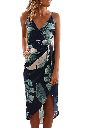 Blue Palms  Floral Wrap Dress