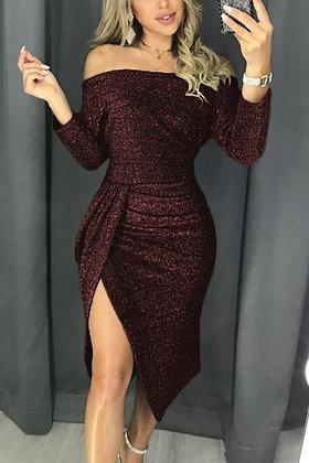 Lurex Off The Shoulder Draped Front Dress-Wine