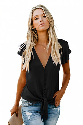 Forever Tonight Button Down Tie Top -Black Cap Sleeve