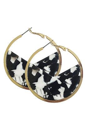 BAROSSA HOOP EARRINGS - Ivory Marble