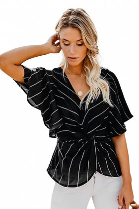 Twist Front V- Neck Twist Front Top With Short Sleeve- Black