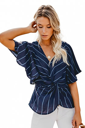 Twist Front V- Neck Twist Front Top With Short Sleeve-Navy