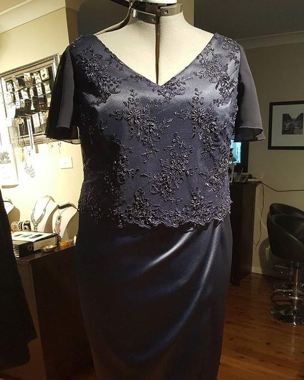 Beaded bodice navy lace dress