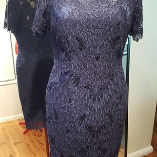 Navy Feather lace dress