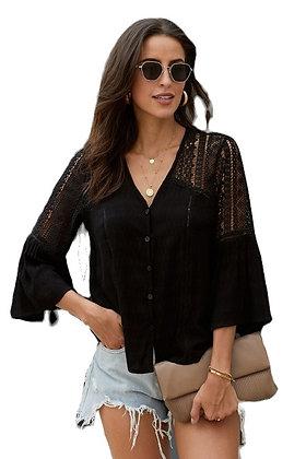 Black Crochet Shoulder Blouse