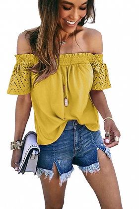 Yellow Hollow Lace Off Shoulder Top