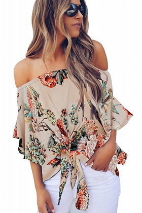 Apricot Off Shoulder Floral Tie Front Blouse