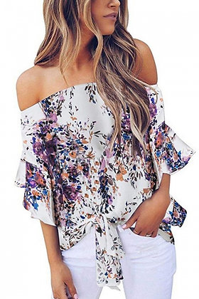 Purple Off Shoulder Floral Tie Front Blouse