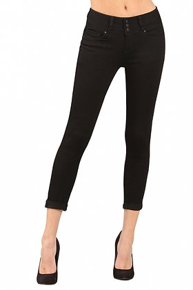 3 Button Butt Lifter Skinny Jeans - Black