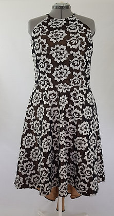 Black & White Mesh Floral Holter Dress