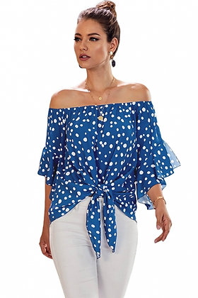 Blue and White Spot Off Shoulder Tie Front Top