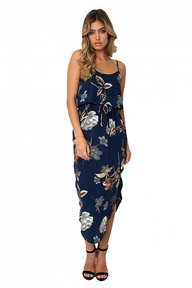 Navy Blue Floral Print Summer Holiday Party Dress