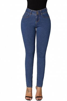 3 Button Butt Lifter Skinny Jeans - Blue